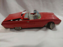 1960's Vintage Ford Thunderbird Red Tin Toy Car Cragstan Parts Or Repair