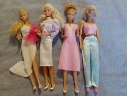 Barbie Dolls - Set Of 4-1980s-blondes-excellent Condition-beautiful Outfits
