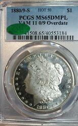 1880-s 1 Morgan Dollar Vam 11 - 0 Over 9 - Pcgs Ms-65 Dmpl- Cac Certified White