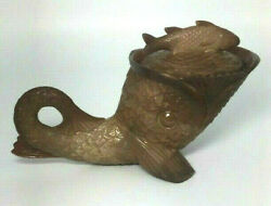 Chocolate Glass Pressed Glass Lidded Mustard Cup Dolphin Fish Antique St Clair