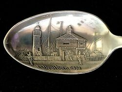 Vintage Sterling Silver Chicago Fort Dearborn Souvenir Spoon 5 7/8andrdquo