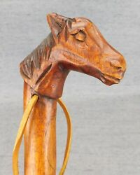 """Hand Carved All Wood Horse Head Shoe Horn 21.5"""" X 3"""" Head Clean As Found Used"""