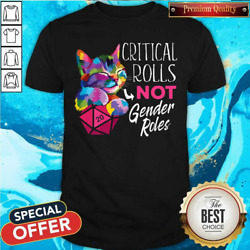 Critical Rolls Not Gender Roles Color Cat T-shirt Funny Tee Size S-xl