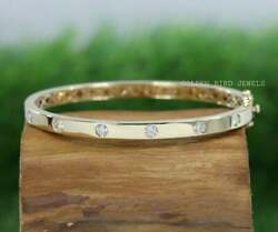 3.00 Mm Colorless Round Moissanite Bangle/ Gold Daily Wear Womenand039s Bracelet