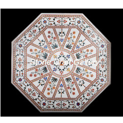 42 Marble Coffee Center Table Pietra Dura Floral Handmade Inlay Work