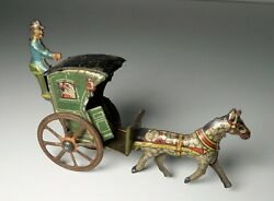 Antique Tin Litho Germany Meier Penny Toy Handsome Cab Coach Wagon - Fischer
