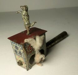 Vintage Early Tin Dancing Poodle / Dog Penny Toy Whistle France / Germany