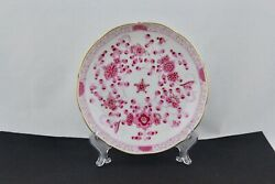 Meissen Hand Painted Saucer In The Classic Indian Purple/pink Flowers Pattern