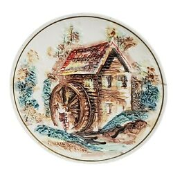 Vtg Lefton Collectors Plate Wall Hanger Watermill House And Creek Country Cabin