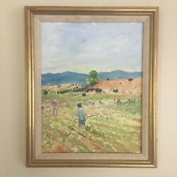 Antique Oil Painting Workers In The Field Early To Mid 1900