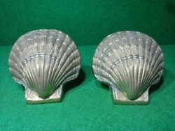 2x Vintage Solid Brass Sea Shell Shaped Heavy Brass Bookends