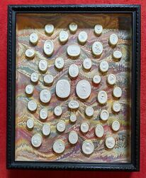 Collection Of 46 Italian Grand Tour Medallions Intaglios Cameos Framed