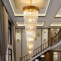 Modern Crystal Led Stair Chandelier Living Room Staircase Ceiling Pendant Lamps