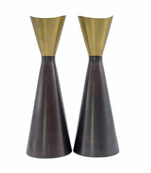 Northern Lights Candles Two Tone Metal Candlestick Holders 10 Mcm Brass Bronze