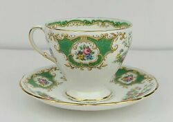 Vintage Eb Foley Green Broadway Pattern Bone China Tea Cup And Saucer England
