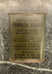 """Full Vintage Military Insecticide Powder Louse Tin Mccormick 3"""""""