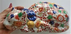 Antique Asian Imari And Gold Sleeping Cat Hand Painted Porcelain Ching Dyn C1904