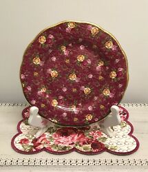 🌹 Rare 2002 Royal Albert Old Country Roses Red Ruby Lace Salad Luncheon Plate