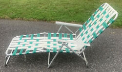 Vintage Aluminum Adjustable Chaise Lounge Lawn Folding Chair Green White Webbing