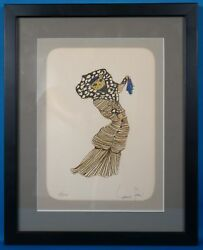 Leonor Fini Hand Signed Le Chat Maquillee Le Color Lithograph Framed 1973