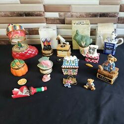 Trinket Box Pillbox Collection Lot Of 11 Hinged Boxes Gently Used Fun Vintage
