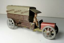 Distler Germany Windup Tin Litho Express Parcel Delivery Truck Penny Toy
