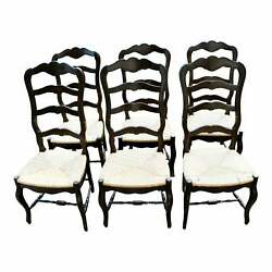 Vintage Walnut French Country Ladderback Rush Seat Dining Chairs - Set Of 6