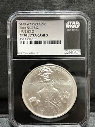 2016 Niue Silver 2 Han Solo Star War Classic Ngc Early Releases Pf 70 Ucam