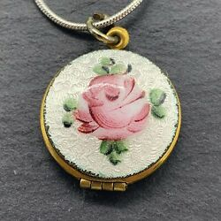 Vintage Antique Locket Pendant With Enamel Flower On 925 Sterling Silver Chain