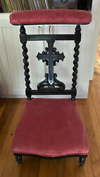 Antique French Upholstered Carved Prie Dieu Prayer Chair Kneeler - We Ship