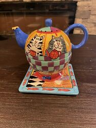 Catzilla By Candace Reiter 2 In 1teapot And Cup Mug Set Ceramic Cat Fish And Trident