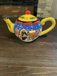 Candace Reiter Winter Snowman Cats And Snow Catzilla Teapot 2001 Vintage Teapot