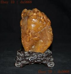 China Tianhuang Shoushan Stone Carved Han Dragon Beast Statue Seal Stamp Signet