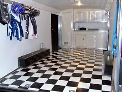 Black And White Checkered Checkerboard Flooring Continuous Vinyl Roll Trailer