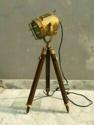 Nautical Antique Industrial Search Light With Wooden Tripod Stand