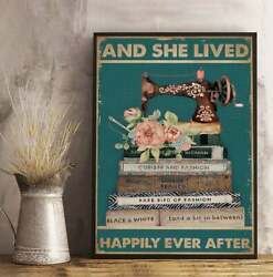 And She Lived Happily Ever After Poster, Sewing Lover Poster, Sew Machine Print