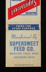 1940s Supersweet Feed Co. Mapleton Redwood Falls Mn Redwood Co Matchbook