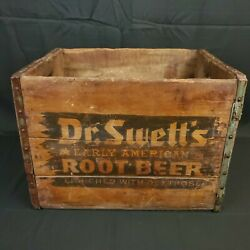 Antique Dr Swett's Early American Root Beer Soda Wood Crate Box Rustic Primitive