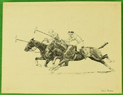 Paul Brown Polo Players 'down The Field' C1930s Drypoint