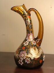 Antique 1920s Signed Jose Cire Royo Enamel 24k Gold Moser Amber Glass Pitcher