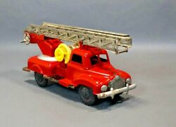 1970s Palart Wroclaw Poland Fire Engine Truck Firefighter Car Friction Tin Toy