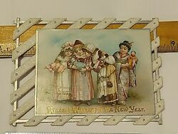 Victorian New Year's Card 4 Girls With Dolls Kitten 1 Is Asian Embossed Die Cut