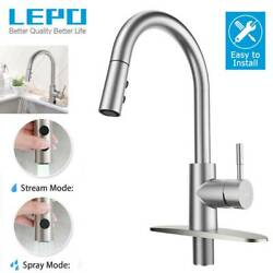 Lepo Kitchen Sink Faucet Pull Out Sprayer Brushed Nickel Rv Tap With Deck Plate