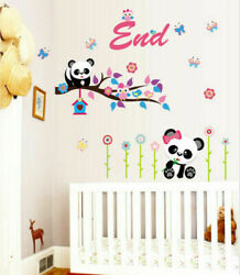 Removable Flowers Branch Panda Wall Sticker Art Mural Wall Decal Home Decor EH
