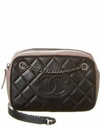 Black Quilted Leather Diamond Cc Camera Case Womenand039s