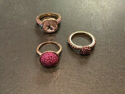 Authentic Signed Heidi Daus 8 Set Of 3 Pink Crystal Stackable Rings No Res