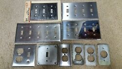 Lot Of 10 Stainless Steel And Chrome Wall Switch Cover Plates 5 Gang 4 Gang Nice