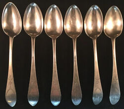 Set Of Six Philadephia Coin Silver Bird Back Table Spoons D. Hall 1760's-1770's