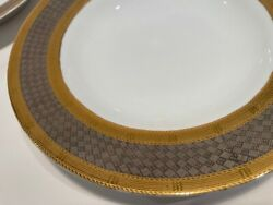 Wallace Porcelain Silver And Gold Basketweave Border Aegean 9 Rim Soup Or Serving