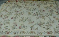 Stark Hand Made Needlepoint 6and039 X 9and039 Flower Sprig W/ Border On Lt. Yellow Rp4000+
